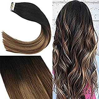 Youngsee Tape in Hair Extensions Human Hair Balayage Black Fading to Brown with Caramel Blonde Remy Tape in Human Hair Extensions 20pcs 50gram 14inch