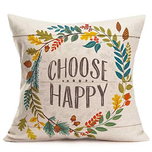 375 Fundas de almohada con hojas decorativas de lino y algodón, fundas de cojín estándar, diseño vintage de grano de madera, 45,7 x 45,7 cm