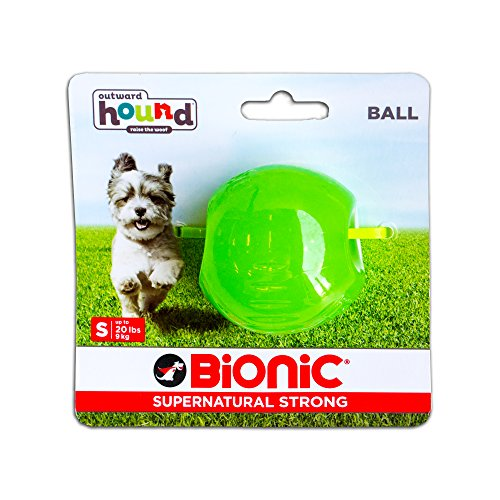 Bionic by Outward Hound Tough Dog Ball, Durable Fetch Toy for Dogs, Small, Green