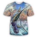 Depredador De Pescado 3D Impreso Tops Cuello Redondo Casual Manga Corta para Hombres Mujeres Verano Camisetas Personalizadas,2XL