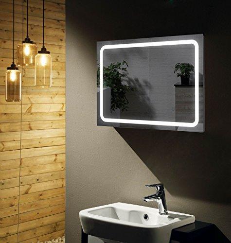SOGOO® Miroir Salle de Bains avec éclairage LED+Interrupteur Tactile Avec Fonction Mémoire+Lumière Blanc Froid 6500K (70x50)