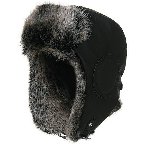Fancet Gorra unisex de invierno de aviador con solapa para las orejas, para cazar, para esquí, nieve, impermeable, piel sintética, algodón encerado