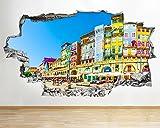 Pegatinas de pared 3D pegatinas de pared Seaside Town Summer Yellow Smashed Decal 3D Art Vinilo Room Art Poster