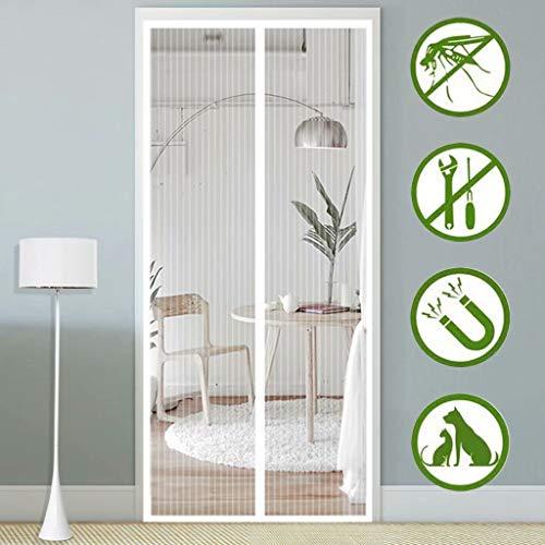 Aiyaoo Mosquitera Puerta Enrollable Lateral 130x230cm con Diseño Minimalista Sin Huecos Buena ventilación Cierra Automáticamente para Terraza Persianas - Blanco