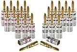Poppstar - Clavija Banana, para Cable de hasta 4 mm Cuadrado atornillar o soldar 6mm Cuadrado, contactos Dorados de 24k, Set de 24 Piezas