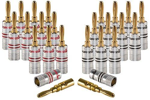 Poppstar 24x High End Bananenstecker, Bananas für Lautsprecherkabel (bis 6 mm²), Lautsprecher, AV Receiver, 24k vergoldete Kontakte (12x schwarz, 12x rot)