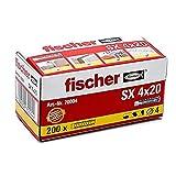 fischer 70004 Taco SX 4x20 (Caja de 200 Ud.), 070004, Gris