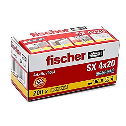 fischer Spreizdübel SX 4 x 20, Schachtel mit 200 Nylondübeln, Dübel für optimalen Halt bei Befestigungen in Beton, Hochlochziegel, Porenbeton, Vollziegel uvm.