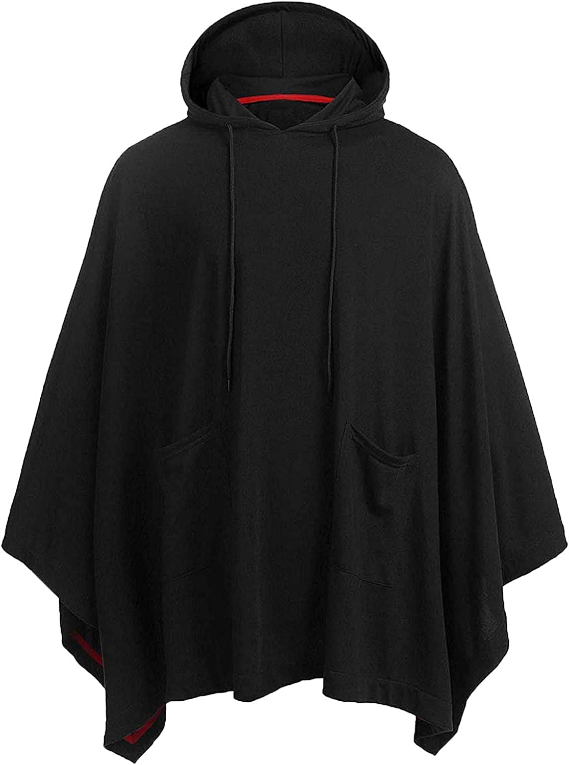 Men Hooded Cape Coat With Turndown Solid Casual Pullover Without Belt Cloak