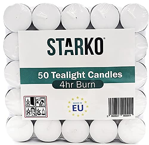 Tealight | Pack Of 50 | Decorative Candle Burns 4 Hours | Tea Light Candles for Wedding, Birthdays and All Other Decorative Events | Pack of (50)
