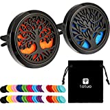 2 Pieces 316L Stainless Steel Car Aromatherapy Essential Oil Diffuser Air Freshener Vent Clip Locket with 48 Pieces Replacement Felt Pad for Christmas Valentine's Day Giving (Tree Patterns)
