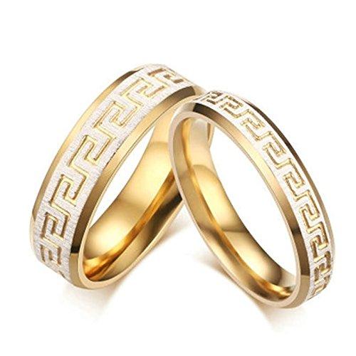Bishilin Mode Edelstahl Ring für Frauen Männer mit Brillantschliff Zirkonia Hochglanzpoliert Matte Fertig Hochzeitring Goldring Demen Größe 54 (17.2)&Herren Größe 57 (18.1)