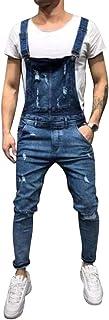 Allthemen Men's Denim Dungarees Retro Long Cargo Overalls Casual Pants Jeans Jumpsuit