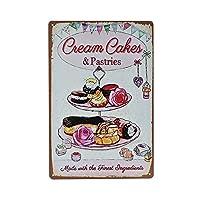 レトロなメタルマークファストフード店レトロなスズデコレーションマーク壁デコレーションプリント-クリームケーキ