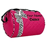 Personalized Quilted Hot Pink and Zebra Dance Duffel Gym Bag