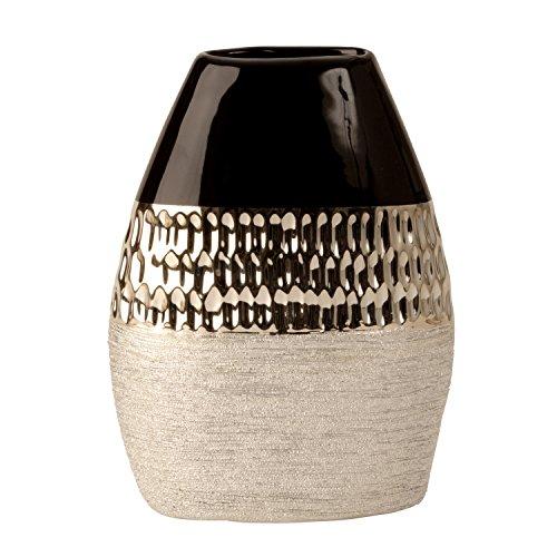 Lifestyle & More Jarrón decorativo moderno de cerámica, color antracita/plata, altura 22 cm