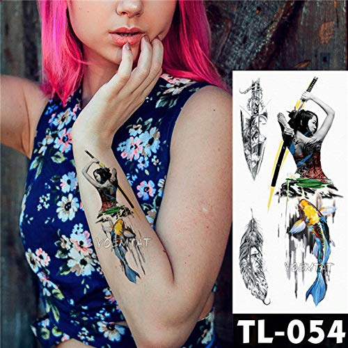tzxdbh 3 Piezas-Azul Tigre Transferencia de Agua Flor Tatuaje ...