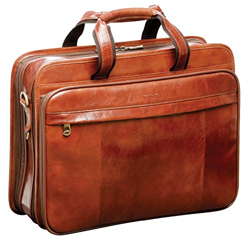 Mancini Italian Leather 15.4' Laptop Briefcase - Brown