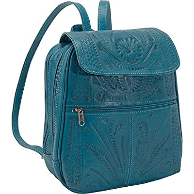 Hand Tooled Backpack by Ropin West | Real Cowhide Leather | Unique Fashionable Bag for Women | Turquoise