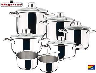 MAGEFESA Dux – Batería de Cocina MAGEFESA Dux 12 Piezas está Fabricada en Acero Inoxidable 18/10, Compatible con Todo Tipo de Fuego. Fácil Limpieza y Apta lavavajillas.