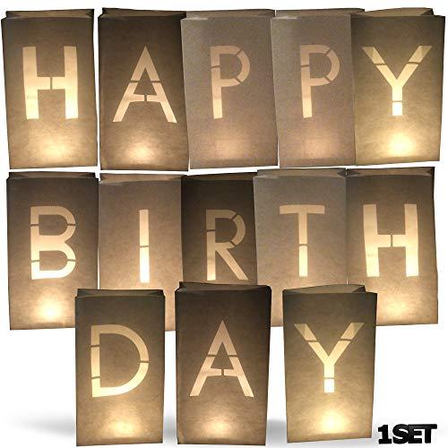 AMENOPH1S Happy Birthday-Set | Weiße Papierlaternen | Kerzentüten | Lichttüten | Einzelne Buchstaben | Dekorationen für Geburtstage | Schwer Entflammbar