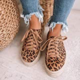 LYYJF Zapatos Deporte Mujer Sandalias de Verano Mocasines de Plataforma Casuales con Cordones de Lona Zapatos de Leopardo,Leopardo,42