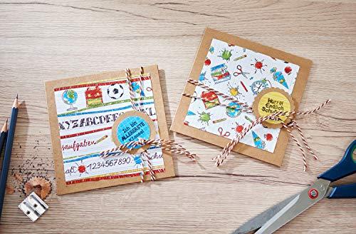"""VBS Mega-Set """"Vintage-Karten"""" Hochzeit Einladungskarten quadratisch aus braunem naturfarbenen Kraftpapier Kartengestaltung Etiketten Geschenkanhänger im Vintagestil basteln - 6"""