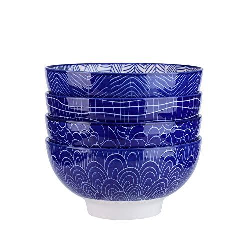 Vancasso Takaki, Set 4 Pezzi Servizio da Ciotole in Porcellana Set di Zuppiere Ceramica Combinazione, Ciotole per Cereali, Ciotole da Snack Dolce, Fruttiere e Insalatiere Colore Blu per 4 Persone
