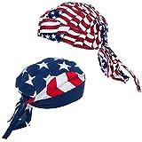 American Flag Durag - USA Doo Rag - Dew Rags for Men - Patriotic Skull Caps - American Flag Headbands - By CoverYourHair (2 Pack Dew Rags)