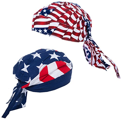 American Flag Durag - USA Doo Rag - Dew Rags for Men - Patriotic Skull Caps - American Flag Headbands - By CoverYourHair (2 Pack Dew Rags)