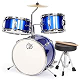 Hadwin Kids Drum Kit, 3 Piece Junior Drum Set with Snare, Tom, Bass Drum, Bass Drum Pedal, Crash Cymbal, Throne and Drumsticks, Band Rock Set for Beginners Kids Children Birthday Gift, Metallic Blue