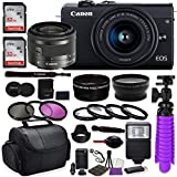 Canon EOS M200 Mirrorless Digital Camera (Black) Premium Accessory Bundle with Canon EF-M 15-45mm is STM Lens (Graphite) + CC2 Case + 64GB Memory + HD Filters + Auxiliary Lenses