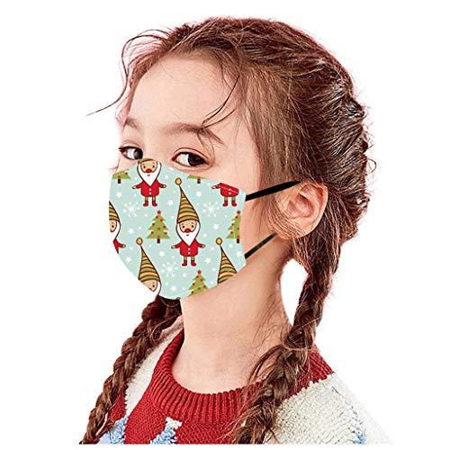 Btruely 3D Drucken Kinder Weihnachten Gedruckt Baumwolle Mundschutz Atmungsaktiv Staubschutz Gesichtsschutz Wiederverwendbar Waschbar Staubschutz Mundschutz