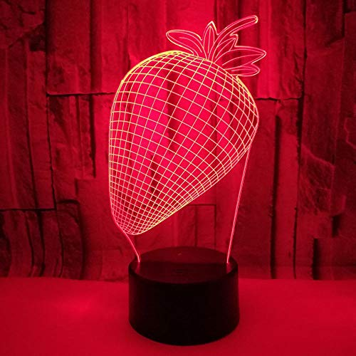 3D Kreative Erdbeer Illusion Lampe LED Deko Licht Stimmungslicht Nachttischlampe 7 Farben ändern Touch Switch Schreibtisch Lampen Geburtstagsgeschenk mit Fernbedienung
