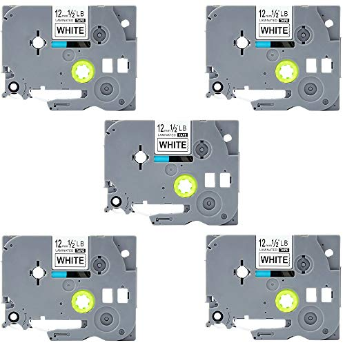 "TZ-231,Tze231,Tze-231,LaBold TZ231 Label Tape Replacement for Brother P-Touch, Laminated 0.47"" x 26.2 feet(12mm x 8m), compatible with PTD210 PTH100 PTD400AD PTP700 PTD600 PT1230PC etc (5 Pack)"