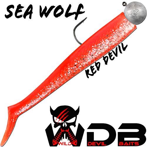 Angel-Berger Wild Devil Baits Sea Wolf Shad Meeres Gummifisch Dorsch (Red Devil, 155g)