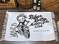 Betty Boop ベティちゃん コットン製フロアマット 50×70cm (柄:BT-BIKER) /ベティブープ/アメリカン雑貨/