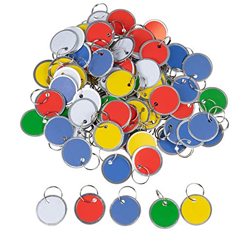 Paper Key Tags - 100 Pack Paper Key ID Label Name Tags with Split Ring, Keychain, Rim Tag, Small Coded Key Chain Keyring Set for Kids Backpack, Luggage, Pets, Assorted Colors, 1.2 Inches in Diameter