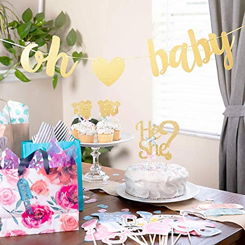 Baby Gender Reveal Party Supplies and Decorations (111 Piece Premium Kit) Pink and Blue Balloons, 36 inch Gender Reveal Balloon, Boy or Girl Banner | Great with Smoke Bombs and Confetti Cannon