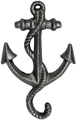 "Hampton Nautical Rustic Silver Decorative Cast Iron Anchor Wall Hook 5"" - Rustic Wall Art - Vintage Wall Decor"