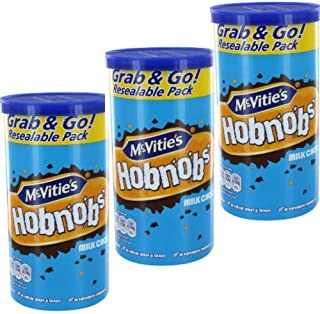 McVities Milk Chocolate Hobnobs, 3 canister pack. 7.2oz (205g) per resealable can