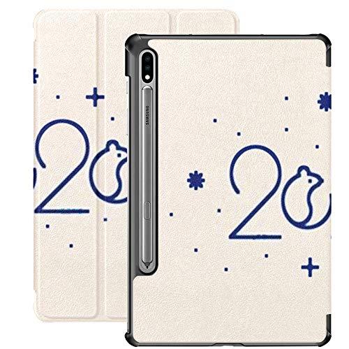 Galaxy Tablet S7 Plus 12.4 Inch Case 2020 con S Pen Holder, Vector Modern 2020 Vision Template Design Estuche Protector con Soporte Delgado para Samsung