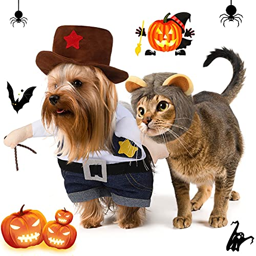 2 Piezas Uniformes de Vaquero de Halloween de Mascotas con Sombrero y Sombrero de Melena de León, Ropa de Disfraz para Perro Gato Cachorro Mascota (M)