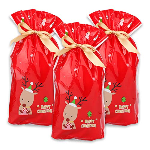 Vidillo 50 pz Sacchetti Regalo di Natale, Renna Rossa Natalizia Regalo Regalo Confezione Regalo Sacchetto Dolce Caramelle Materiale plastico Sacchetti Regalo Natalizio per Matrimonio Anniversario