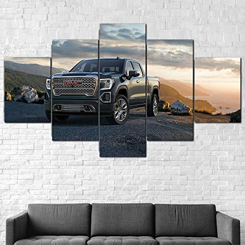 XIAYUU Coche SUV Sierra Denali Truck Cuadros En Lienzo Decoracion De Pared 5 Piezas HD Modernos Mural Fotos Arte Pintura Marco para,Salon,Dormitorio,Decoración del Hogar(150 x 80 CM)