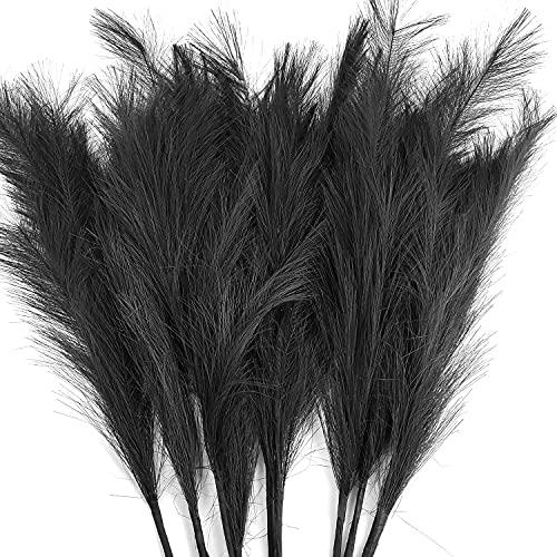 Planta artificial de pampas de 100 cm, 8 unidades, 100 cm, suave y secada, con plumas, arreglos florales, decoración (negro, 8)