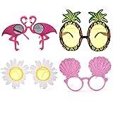 Liwein 4 Pares Gafas de Sol de Piña,Flamingo Conchas Daisy Flower Hawaianas Tropicales Partido Gafa Accesorios de Disfraz Foto Props para Niños Adultos Decorativas de Fiesta Temática de Verano