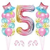 5er Cumpleaños Globos, Decoración de Cumpleaños 5 en Rosado, Cumpleaños 5 Año, Feliz Cumpleaños Decoración Globos 5 Años, Globos de Confeti y Aluminio para Niñas