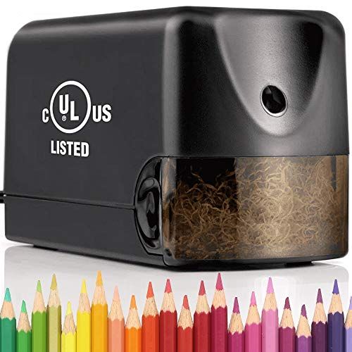 Heavy Duty Electric Pencil Sharpener, Classroom Pencil Sharpener for 6.5-8mm No.2/Colored Pencils, UL Listed Industrial Pencil Sharpener w/Stronger Helical Blade, Black