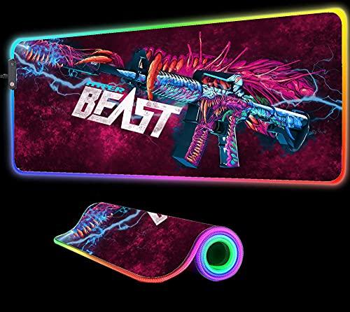 Gaming Mouse Pads CS GO AK Gun RGB Large Gaming Computer PC Carpet Gamer LED Lighting Colorful Luminous Desk Pad 24 inch x12 inch